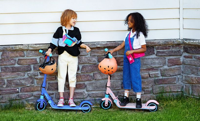 Kids on Pink Ninebot ZING E8 Scooters