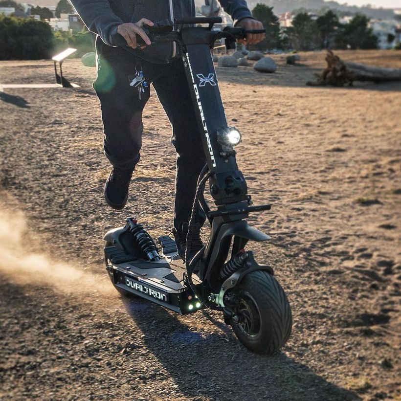Riding the Dualtron X on a Dirt Track